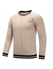 Autumn Winter Men's Cotton Casual Round Neck Pullover Thick Long-sleeved T-Shirts