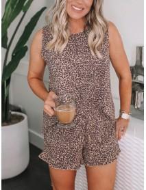 Tie-dye Print Round Neck Sleeveless Tank Tops Leopard Print Shorts