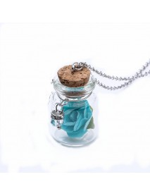 Fashion Glass Tiny Wishing Bottle Charm Necklace Luminous Flower Long Necklace for Women