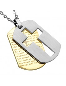 Classic Cross Pendant Necklace Stainless Steel Hang Tag Chain Necklace for Men