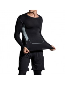 Three-piece Elastic Fitness Suits Men's Long-sleeved Running Training Breathable Sportswear Pants