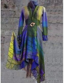 Casual Long Sleeve Floral Print Long Maxi Coats