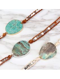 Ethnic Ocean Jasper Stone Bracelet Charm Wrap Leather Bracelet For Women Retro Style Bracelet