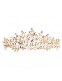 Pink Wedding Bridal Jewelry Crystal Tiara Crown Headband Headpiece Earrings Set