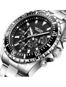 MEGIR 2064 Men Watch Luxury Multifunction Chronograph Casual Male Quartz Wrist Watch