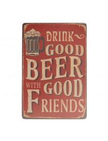 Beer Sheet Metal Drawing Metal Painting Tin Shop Pub Wall Tavern Poster Sign