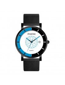 ANANKE AN03 Calendar Casual Style Quartz Watch Leather Strap Men Student Wrist Watch