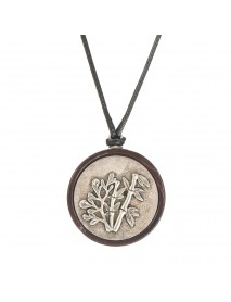 Ethnic Jewelry Black Sandalwood Bamboo Leaves Round Pendant Vintage Silver Charm Necklace for Women