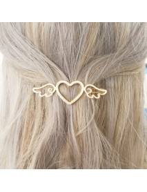 Lovely Hollow Heart Shape Side Wing Hair Clips Barrettes Hair Accessories for Girls Women