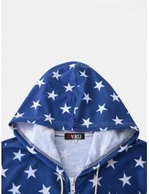 Men American Flag Print Hooded Zipper Pocket Short Sleeve Home Jumpsuit Sleepwear