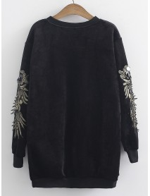 Casual Women Embroidered Patchwork Long Sleeve Sweatshirt