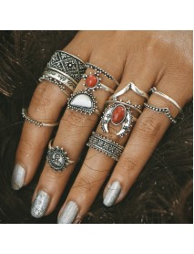 14 Pcs Bohemian Statement Ring Set Turquoise Flower Engraved Knuckle Rings for Women