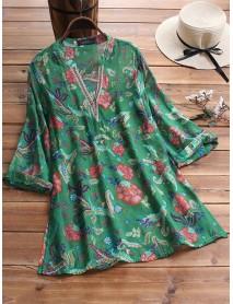 3/4 Sleeve V-neck Floral Print Vintage Blouse For Women