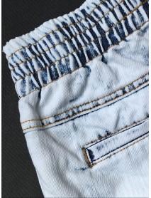 Casual Women Elastic Waist Irregular Denim Shorts with Pocket