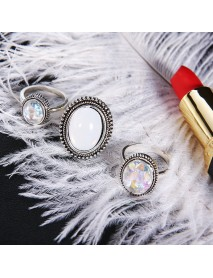 3Pcs/set Statement Silver Color Ring Set Big Gem Stone Women's Oval Boho Knuckle
