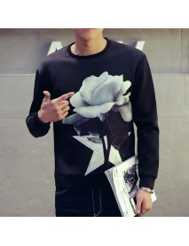 Casual Men Printing O- Neck Long Sleeve Pullovers Sweaters