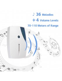 100M 36 Songs Chimes Wireless Music Doorbell Cordless Receiver Control