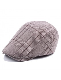 Adjustable Cotton Grid Beret Hat Men Women Outdoor Sports Plaid Sun Proof Forward Peaked Cap