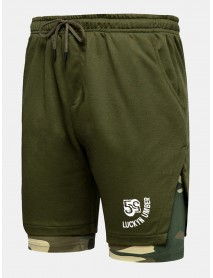 Mens Camouflage Patchwork Zippered Pocket Casual Sport Shorts