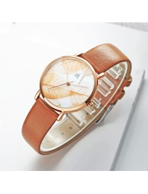 SHENGKE SK K0108 Spring Jade Green Calm Brown Leaf Dial Fashion Leather Strap Women Quartz Watch