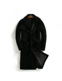 ChArmkpR Mens Double Wear Mid-long Polyester Suede Fleece Warm Parka Coats