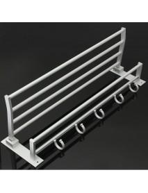 Bathroom Alumimum Folded Silver Bath Towel Shelf Washcloth Rack Holder With 5 Hooks Storage Rack