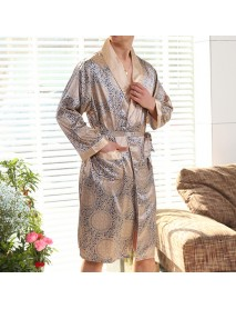 Mens Imitation Silk Printing Bathrobe Summer Thin Long Sleeve Home Casual Sleepwear Robe