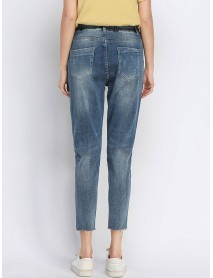 Casual Drawstring Hole Jeans for Women