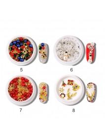 1 Box 3D Nail Art Christmas Snowflake Decorations Set Alloy Metal Rivet Nail Hollow Studs Tips Manicure Decorations