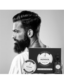 7Pcs/Set Premium Organic Beard Balm Wax Beard Beard Growth Grooming Care Kit For Men Beard Comb Moustache Wax