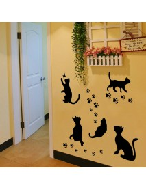 Black Cats Design Footprintl Art Peel Stick Wall Stickers DIY Vinyl Wall Decals Applique for Home Stairway Decor Baseboard