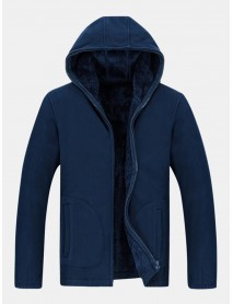 Men's New Sweater Plus Velvet Loose Large Size Cardigan Hooded Warm Fleece Jacket