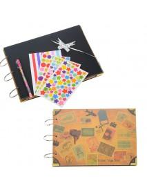 10 Inch DIY Photo Album Cowhide Paper Handmade Travel Theme Photo Album