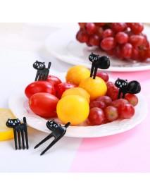 6Pcs Mini Animal Fork Fruit Picks Cute Cartoon Black Cat Children Fork Toothpick Novelties Toys