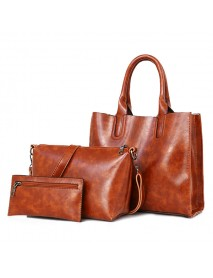 3 PCS Women Vintage Leisure Handbag Oil Wax Leather Crossbody Bag