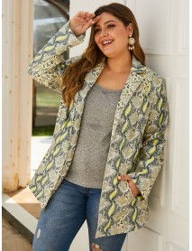Plus Size Imitation Snakeskin Print Turn-down Collar Office Casual Suit Coats