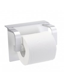 Multifunctional Punch-free Toilet Paper Phone Holder With Mobile Phone Storage Shelf Wall Mounted Bathroom Rack