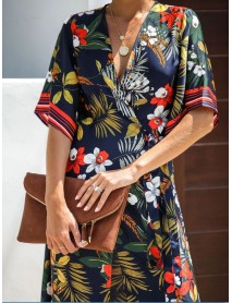 Bohemian Floral Print V-neck Tie Waist Summer Bikini Midi Dress