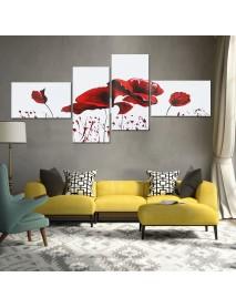 4PCS Geometric Flower Canvas Art Print Paint Wall Picture Poster Mural DIY Decorations