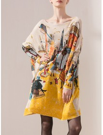 Plus Size Cartoon Print Batwing Sleeve Knitted Sweaters