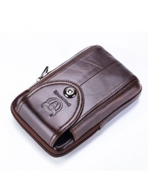 Bullcaptain Men Genuine Leather Belt Bag Vintage Phone Pouch Multi-function Fanny pack