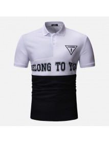 Men Color Block Letter Printed Muscle Fit Golf Shirt