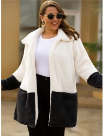 Contrast Color Splice Turn-down Collar Fleece Cardigan Coats with Pockets