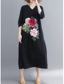 Floral Embroidery A-line V-neck Long Sleeve Maxi Dress