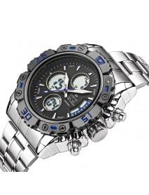 STRYVE S8018 Men Full Steel Waterproof Date Week Chrono Alarm Clock Dual Display Digital Watch