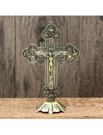10 Antique Jesus INRI Catholic Altar Standing Religious Crucifix Cross Decorations with Base