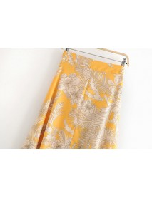 New European And American Style Women's Yellow Flowers In The Long Skirt 9-2-1186