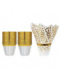 50PCS Disposable Plastic Cups 9oz with 50PCS Disposable Napkins For Birthday Wedding Tableware Set