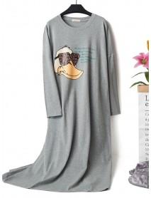Autumn Cotton Long Sleeve Cartoon Printed Overhead Nightgown