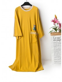 Colorful Animals Printed Loose Cotton Nightgown